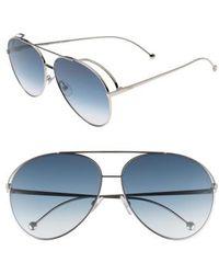 Fendi - 52mm Aviator Sunglasses - Palladium - Lyst