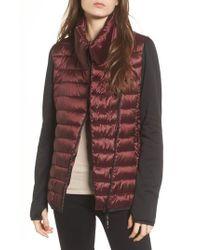 Marc New York | Knit Sleeve Packable Puffer Jacket, Burgundy | Lyst