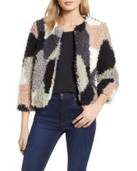 1.STATE - Patchwork Curly Faux Fur Cropped Jacket - Lyst