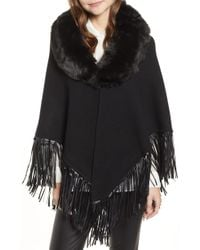 Love Token - Fringe Poncho With Detachable Faux Fur Collar - Lyst