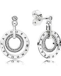 PANDORA - Signature Logo Drop Earrings - Lyst