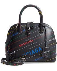 Balenciaga - Small Ville Logo Calfskin Satchel - - Lyst