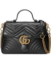 a03aa53af5a7 Gucci - Small Gg Marmont 2.0 Matelassé Leather Top Handle Bag - Lyst