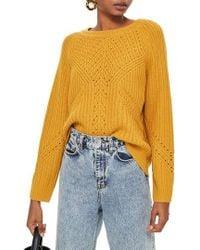 TOPSHOP - Rib & Pointelle Stitch Sweater - Lyst