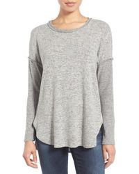 Bobeau - Rib Long Sleeve Fuzzy Top - Lyst