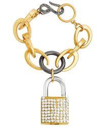 Steve Madden | Rolo Crystal Lock Chain Bracelet | Lyst