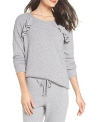 c295ff917 Lyst - Chaser Love Ruffle Knit Pullover in Gray