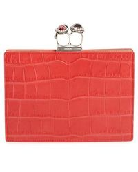 Alexander McQueen - Croc Embossed Calfskin Leather Double Ring Clutch - - Lyst