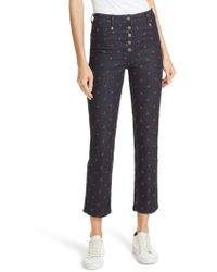 Miaou - Junior Floral Embroidered Crop Jeans - Lyst