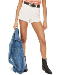 TOPSHOP | Cutoff Denim Mom Shorts | Lyst