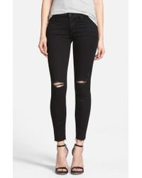 Mother - 'the Looker' Frayed Ankle Skinny Jeans - Lyst