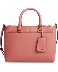 Tory Burch - Small Robinson Double-zip Leather Tote - Coral - Lyst
