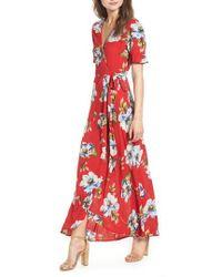 Band Of Gypsies - Blue Moon Floral Print Wrap Dress - Lyst