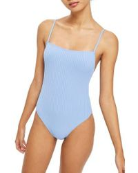 TOPSHOP - Ribbed Swimsuit - Lyst