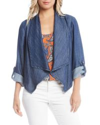 Karen Kane | Shirred Back Denim Jacket | Lyst