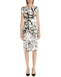 Max Mara - Alcali Scribble Print Sheath Dress - Lyst