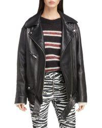 Étoile Isabel Marant - Abely Oversize Leather Biker Jacket - Lyst