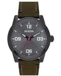 Nixon - 'g.i.' Round Dial Nylon Strap Watch - Lyst