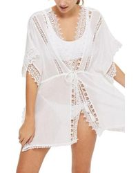 TOPSHOP - Double V-neck Lace Trim Cover-up Caftan - Lyst