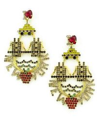 Elizabeth Cole - I Love New York Crystal Drop Earrings - Lyst
