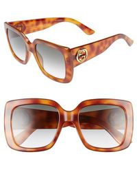 Gucci - Avana 53mm Square Sunglasses - Lyst
