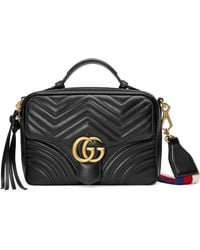 fc9b1ac4ed3b Gucci - Small Gg Marmont 2.0 Matelasse Leather Camera Bag With Webbed Strap  - - Lyst