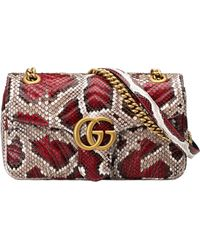 Gucci - GG Marmont Small Python Shoulder Bag - Lyst