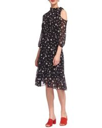 Whistles - Tulip Print Tie Neck Dress - Lyst