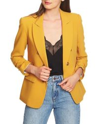 1.STATE - Ruched Sleeve Stretch Crepe Blazer - Lyst
