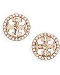 Tory Burch - Crystal Logo Circle Stud Earrings - Lyst