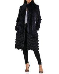 Badgley Mischka - Chevron Knit Genuine Fur Coat - Lyst