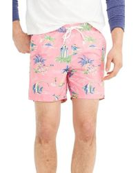 J.Crew | J.crew Hawaii Print Swim Trunks | Lyst