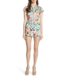 Alice + Olivia - Macall Floral Ruffle Sleeve Romper - Lyst