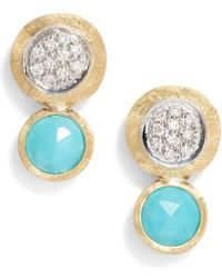 Marco Bicego - Jaipur Diamond & Turquoise Stud Earrings - Lyst