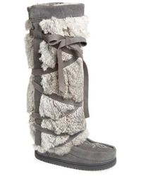 Manitobah Mukluks - Genuine Rabbit Fur Tall Wrap Boot - Lyst