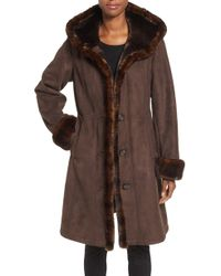 Gallery - Hooded Faux Shearling Long A-line Coat - Lyst