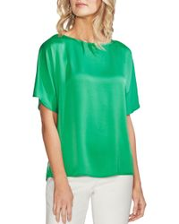 23b8158bf9a Lyst - Vince Camuto Pleat Back Hammer Satin Top in Blue