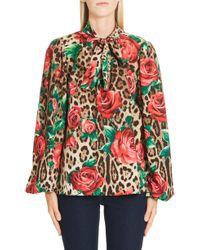 Dolce & Gabbana - Tie-neck Long-sleeve Rose & Leopard-print Charmeuse Blouse - Lyst