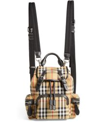 Burberry - Small Rucksack Vintage Check Canvas & Leather Backpack - Lyst