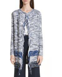 371211c692f18f St. John - Vertical Fringe Multi Tweed Knit Waterfall Cardigan W Fringe  Detail - Lyst