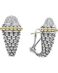 Lagos - Signature Caviar Diamond Pave Earrings - Lyst