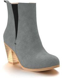 Shoes Of Prey - Block Heel Suede Chelsea Boots - Lyst
