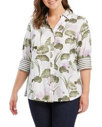 Foxcroft - Mary In Waterlily Print Shirt - Lyst