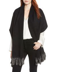 La Fiorentina - Wool Wrap With Genuine Rex Rabbit Trim - Lyst