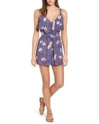 Band Of Gypsies - Floral Print Ruffle Front Romper - Lyst