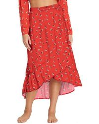 Billabong - Dancing Til Dawn Print Wrap Skirt - Lyst