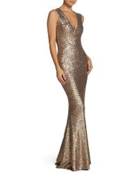 Dress the Population - Karina Plunge Mermaid Gown - Lyst