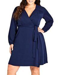 City Chic - Mia Wrap Dress - Lyst