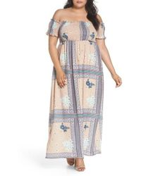 Glamorous - Patchwork Print Off The Shoulder Maxi Dress - Lyst