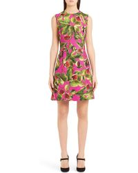 Dolce & Gabbana - Fig Print Brocade A-line Dress - Lyst
